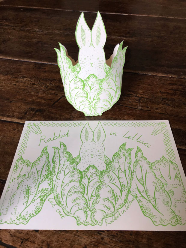 Original print 'Rabbit in Lettuce' greetings card by Elizabeth Harbour