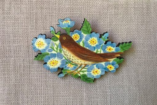 Song Thrush in flowers brooch by Elizabeth Harbour