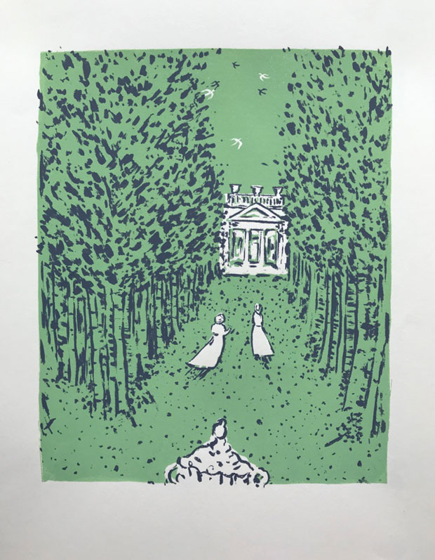 To the summerhouse and original screen-print by Elizabeth Harbour