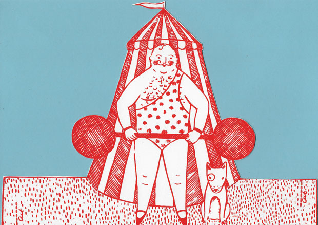 Original print 'Strong Man' greetings card by Elizabeth Harbour (cutting guide)