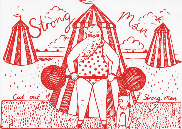 Original print 'Strong Man' greetings card by Elizabeth Harbour