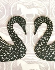 Two Romantic Swans, folk art wall hanging swans by Elizabeth Harbour