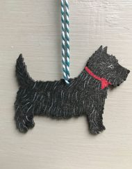 Black Scottie dog wooden decoration by Elizabeth Harbour