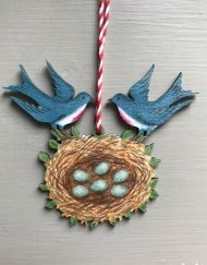 Blue Birds wooden decoration by Elizabeth Harbour