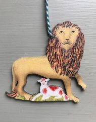 Lion with Lamb wooden decoration by Elizabeth Harbour
