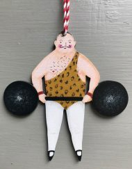 Strongman wooden decoration by Elizabeth Harbour