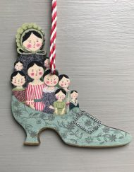 The Family Slipper wooden decoration by Elizabeth Harbour