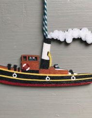 Tug boat wooden decoration by Elizabeth Harbour