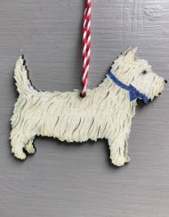 White Scottie dog wooden decoration by Elizabeth Harbour