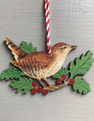 Wren wooden decoration by Elizabeth Harbour
