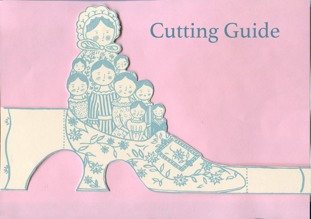 Cutting guide for 'Family Slipper' greetings card by Elizabeth Harbour