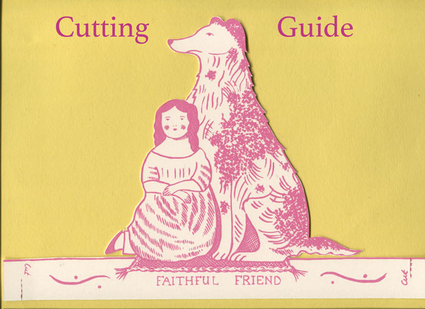 Cutting-guide for 'Faithful Friend' greetings card by Elizabeth Harbour