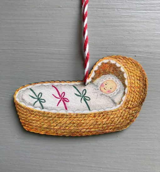 Baby Bunting wooden decoration by Elizabeth Harbour