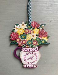 Jug of Flowers wooden decoration by Elizabeth Harbour