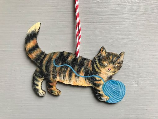 Kitty wooden decoration by Elizabeth Harbour