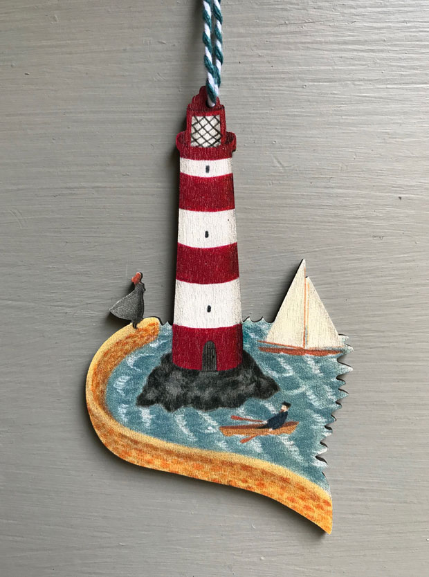 Lighthouse wooden decoration by Elizabeth Harbour