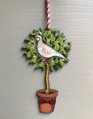 Partridge in a Pear Tree wooden decoration by Elizabeth Harbour
