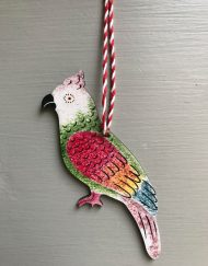 Polly Parrot wooden decoration by Elizabeth Harbour