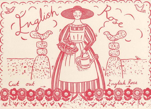 English Rose, cut out stand up greetings card, by Elizabeth Harbour