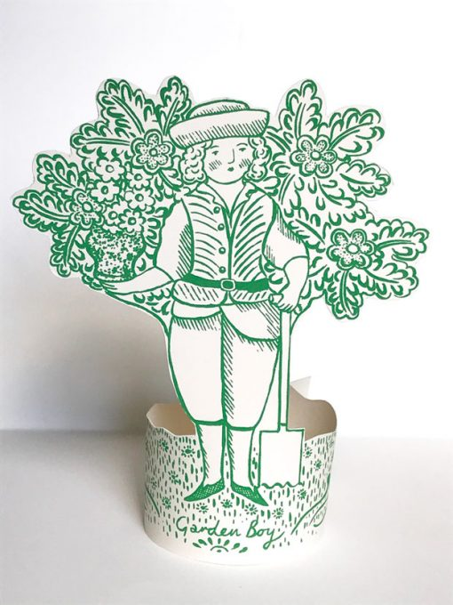 Garden Boy cut out stand up card by Elizabeth Harbour