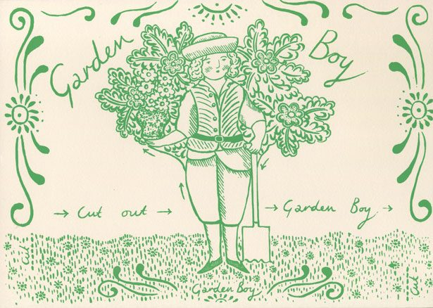 Garden Boy cut out, stand up greetings card by Elizabeth Harbour