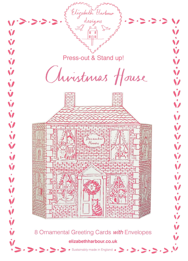 Eight Press out Christmas house cards
